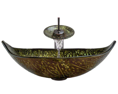 POLARIS P346-ABR 16.38 INCH GREEN/BROWN FOIL BATHROOM WATERFALL FAUCET ENSEMBLE OIL RUBBED BRONZE