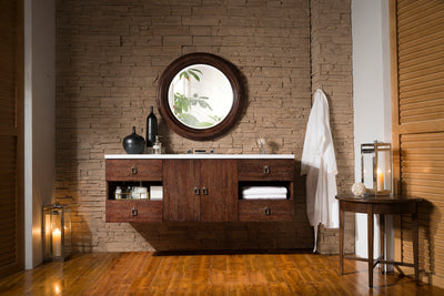 JAMES MARTIN 860-V60S-CFO-4CAR SONOMA 60 INCH SINGLE VANITY IN COFFEE OAK WITH 4 CM CARRARA WHITE MARBLE TOP