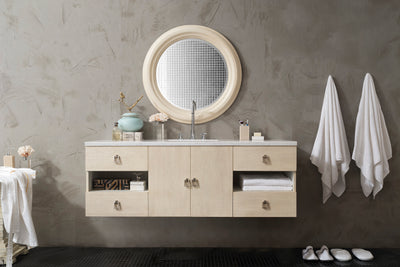 JAMES MARTIN 860-V60S-VNO-3SNW SONOMA 60 INCH SINGLE VANITY IN VANILLA OAK WITH 3 CM SNOW WHITE QUARTZ TOP