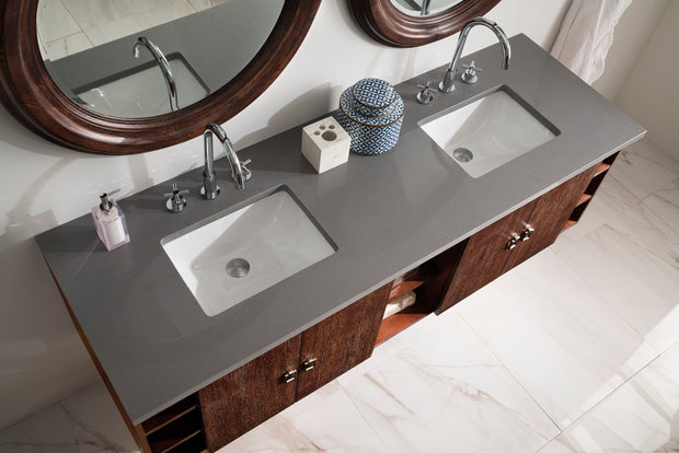 JAMES MARTIN 860-V72-CFO-3CAR SONOMA 72 INCH DOUBLE VANITY IN COFFEE OAK WITH 3 CM CARRARA MARBLE TOP