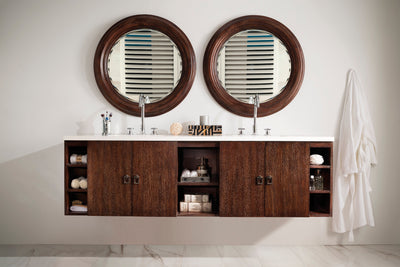 JAMES MARTIN 860-V72-CFO-3SNW SONOMA 72 INCH DOUBLE VANITY IN COFFEE OAK WITH 3 CM SNOW WHITE QUARTZ TOP