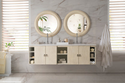 JAMES MARTIN 860-V72-VNO-4CAR SONOMA 72 INCH DOUBLE VANITY IN VANILLA OAK WITH 4 CM CARRARA WHITE MARBLE TOP