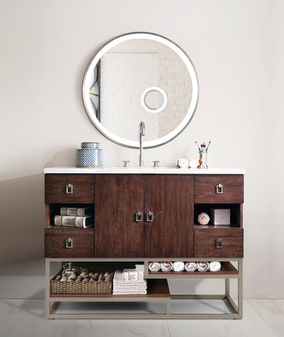 JAMES MARTIN 864-V48-CFO-3AF SONORAN 48 INCH SINGLE VANITY IN COFFEE OAK WITH 3 CM ARCTIC FALL SOLID SURFACE TOP