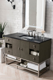 JAMES MARTIN 864-V48-SOK-3CLW SONORAN 48 INCH SINGLE VANITY IN SILVER OAK WITH 3 CM CLASSIC WHITE QUARTZ TOP WITH SINK