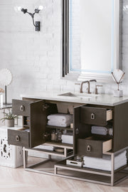 JAMES MARTIN 864-V48-SOK-3CSP SONORAN 48 INCH SINGLE VANITY IN SILVER OAK WITH 3 CM CHARCOAL SOAPSTONE QUARTZ TOP WITH SINK
