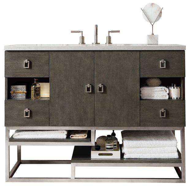JAMES MARTIN 864-V48-SOK-3EJP SONORAN 48 INCH SINGLE VANITY IN SILVER OAK WITH 3 CM ETERNAL JASMINE PEARL QUARTZ TOP WITH SINK