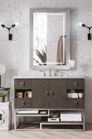 JAMES MARTIN 864-V48-SOK-3GEX SONORAN 48 INCH SINGLE VANITY IN SILVER OAK WITH 3 CM GREY EXPO QUARTZ TOP WITH SINK