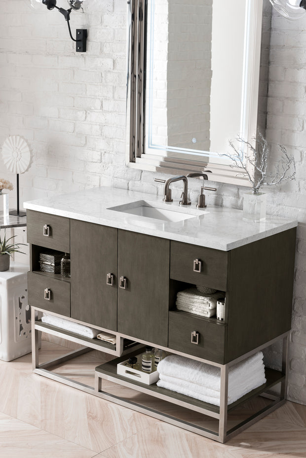 JAMES MARTIN 864-V48-SOK-3IBK SONORAN 48 INCH SINGLE VANITY IN SILVER OAK WITH 3 CM ICONIC BLACK QUARTZ TOP WITH SINK