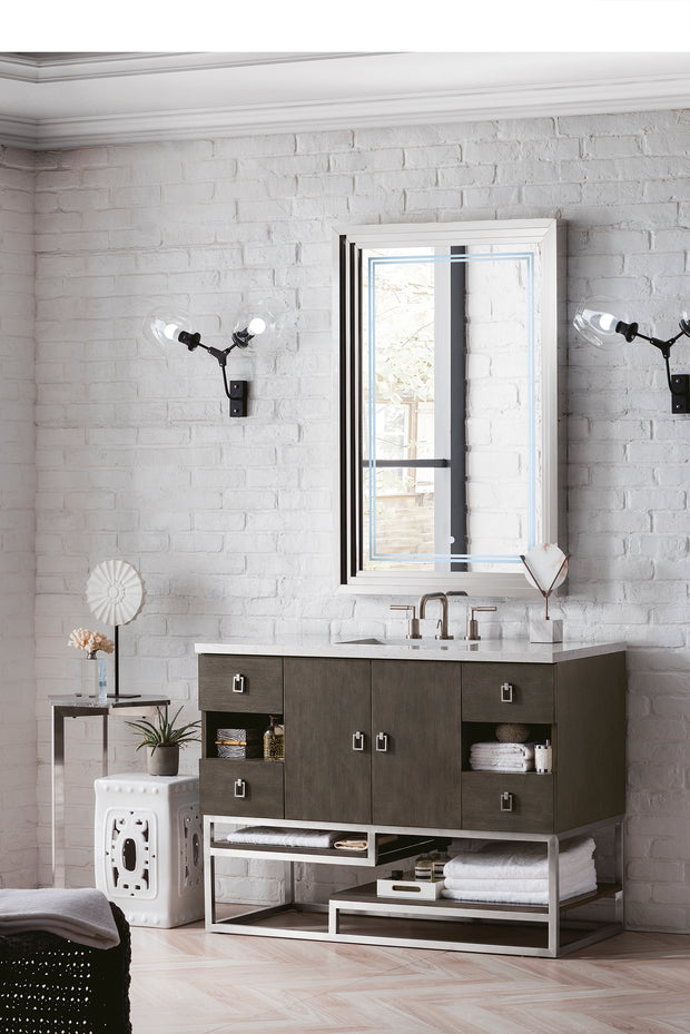 JAMES MARTIN 864-V48-SOK-3OCAR SONORAN 48 INCH SINGLE VANITY IN SILVER OAK WITH 3 CM CARRARA WHITE TOP WITH OVAL SINK