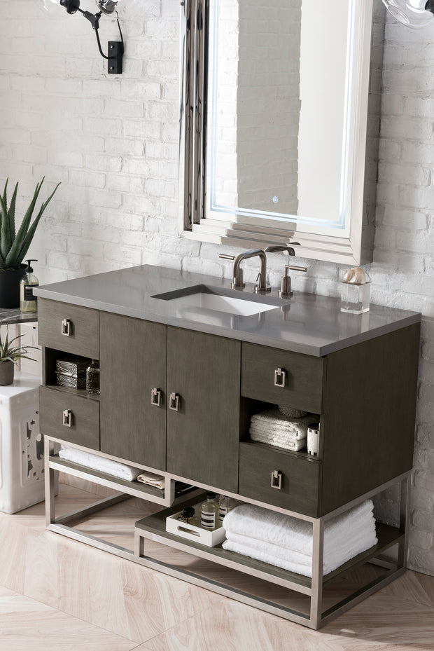 JAMES MARTIN 864-V48-SOK-3OGLB SONORAN 48 INCH SINGLE VANITY IN SILVER OAK WITH 3 CM GALALA BEIGE TOP WITH OVAL SINK