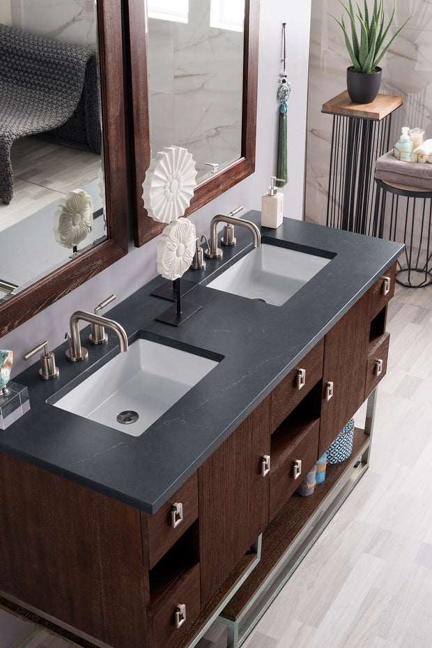 JAMES MARTIN 864-V60D-CFO-3AF SONORAN 60 INCH DOUBLE VANITY IN COFFEE OAK WITH 3 CM ARCTIC FALL SOLID SURFACE TOP