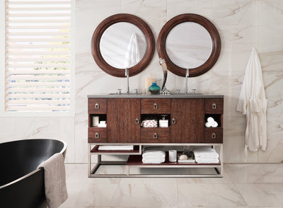 JAMES MARTIN 864-V60D-CFO-4CAR SONORAN 60 INCH DOUBLE VANITY IN COFFEE OAK WITH 4 CM CARRARA WHITE MARBLE TOP