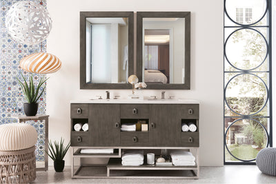 JAMES MARTIN 864-V60D-SOK-3AF SONORAN 60 INCH DOUBLE VANITY IN SILVER OAK WITH 3 CM ARCTIC FALL SOLID SURFACE TOP