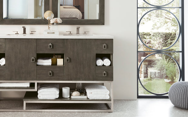 JAMES MARTIN 864-V60D-SOK-3CAR SONORAN 60 INCH DOUBLE VANITY IN SILVER OAK WITH 3 CM CARRARA MARBLE TOP