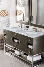 JAMES MARTIN 864-V60D-SOK-3CLW SONORAN 60 INCH DOUBLE VANITY IN SILVER OAK WITH 3 CM CLASSIC WHITE QUARTZ TOP WITH SINK