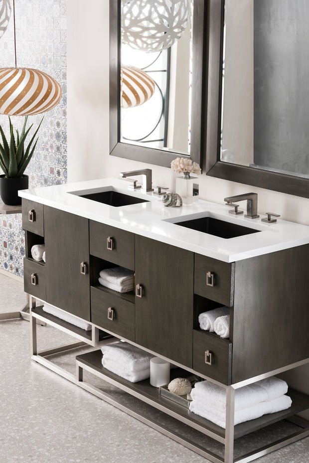JAMES MARTIN 864-V60D-SOK-3CSP SONORAN 60 INCH DOUBLE VANITY IN SILVER OAK WITH 3 CM CHARCOAL SOAPSTONE QUARTZ TOP WITH SINK