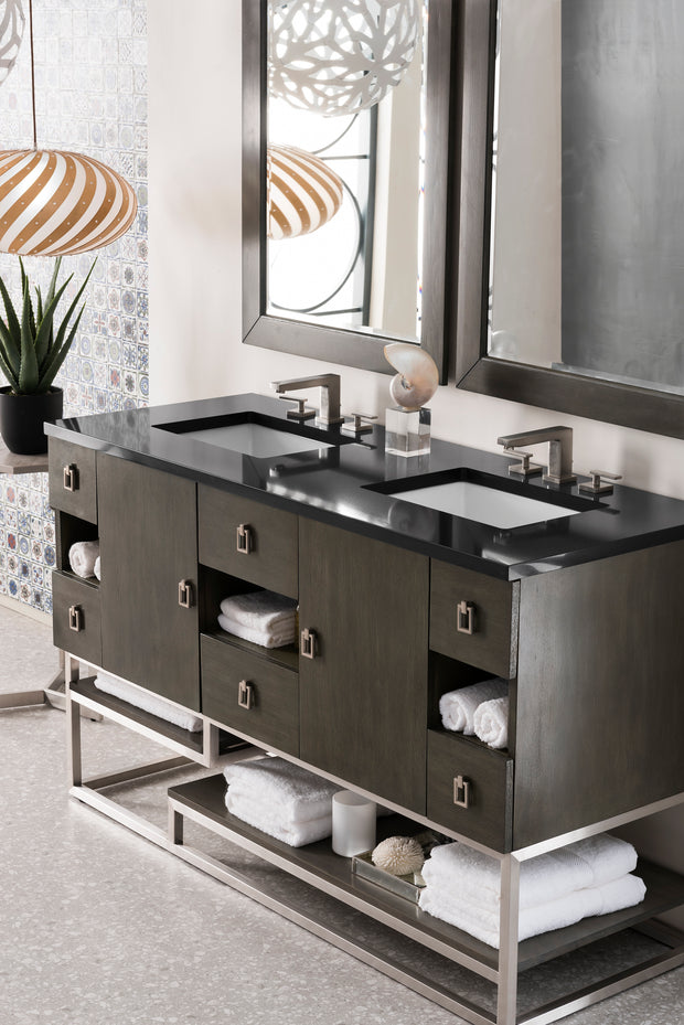 JAMES MARTIN 864-V60D-SOK-3EJP SONORAN 60 INCH DOUBLE VANITY IN SILVER OAK WITH 3 CM ETERNAL JASMINE PEARL QUARTZ TOP WITH SINK