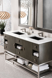 JAMES MARTIN 864-V60D-SOK-3IBK SONORAN 60 INCH DOUBLE VANITY IN SILVER OAK WITH 3 CM ICONIC BLACK QUARTZ TOP WITH SINK
