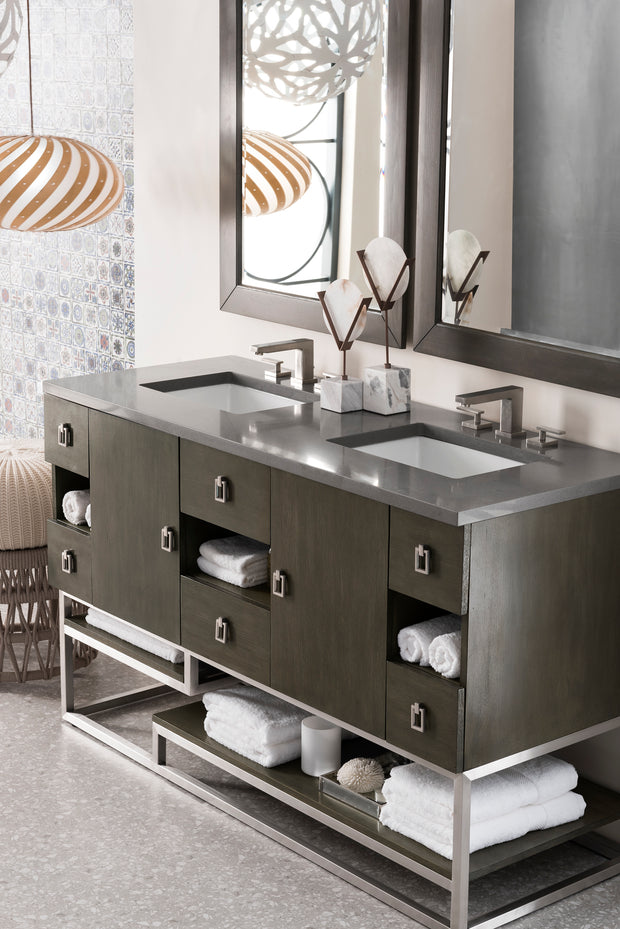 JAMES MARTIN 864-V60D-SOK-3OCAR SONORAN 60 INCH DOUBLE VANITY IN SILVER OAK WITH 3 CM CARRARA WHITE TOP WITH OVAL SINK