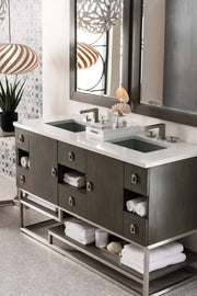JAMES MARTIN 864-V60D-SOK-3ODSC SONORAN 60 INCH DOUBLE VANITY IN SILVER OAK WITH 3 CM SANTA CECILIA TOP WITH OVAL SINK
