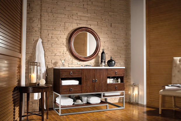 JAMES MARTIN 864-V60S-CFO-4DSC SONORAN 60 INCH SINGLE VANITY IN COFFEE OAK WITH 4 CM SANTA CECILIA GRANITE TOP