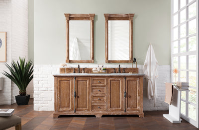 James Martin 238-105-5711-3SNW Providence 72 Inch Driftwood Double Vanity with Snow Carrara White Top