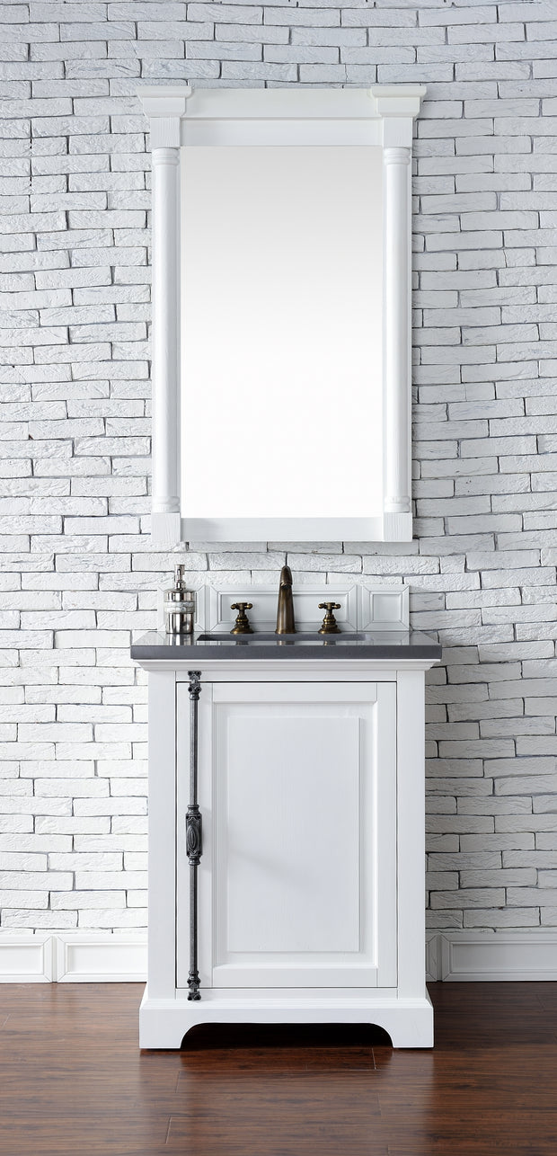 James Martin 238-105-V26-CWH-3SHG Providence 26 Inch Cottage White Single Vanity with 3 CM Shadow Gray Quartz Top