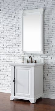 James Martin 238-105-V26-CWH-3SNW Providence 26 Inch Cottage White Single Vanity with 3 CM Snow White Quartz Top