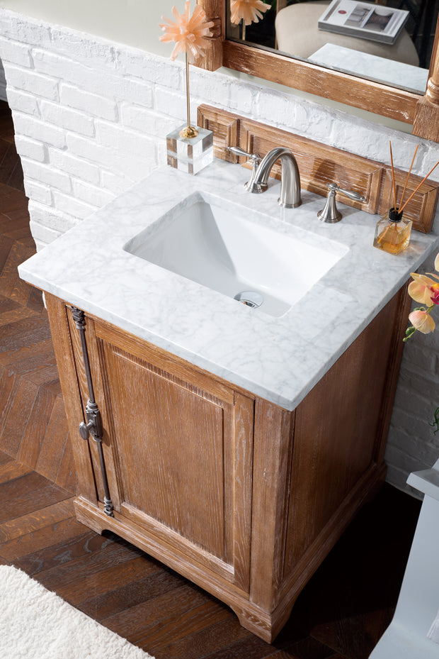James Martin 238-105-V26-DRF-3SNW Providence 26 Inch Driftwood Single Vanity with Snow Carrara White Top