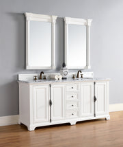 James Martin 238-105-V72-CWH-2CAR Providence 72 Inch Cottage White Double Vanity with 2cm Carrara White Stone Top