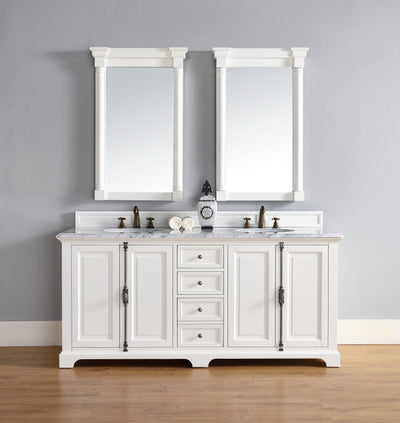 James Martin 238-105-V72-CWH-3SHG Providence 72 Inch Cottage White Double Vanity with 3 CM Shadow Gray Quartz Top