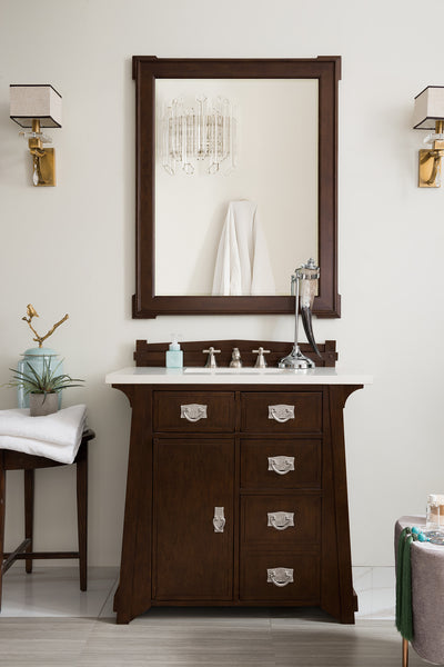 James Martin 250-V36-BNM-3SNW Pasadena 36 Inch Single Vanity in Burnished Mahogany with 3 CM Snow White Quartz Top