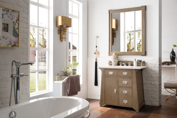James Martin 250-V36-WTP-3AF Pasadena 36 Inch Single Vanity in Warm Taupe with 3 CM Arctic Fall Solid Surface Top