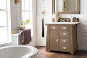 James Martin 250-V36-WTP-3CAR Pasadena 36 Inch Single Vanity in Warm Taupe with 3 CM Carrara Marble Top