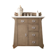 James Martin 250-V36-WTP-3SNW Pasadena 36 Inch Single Vanity in Warm Taupe with 3 CM Snow White Quartz Top