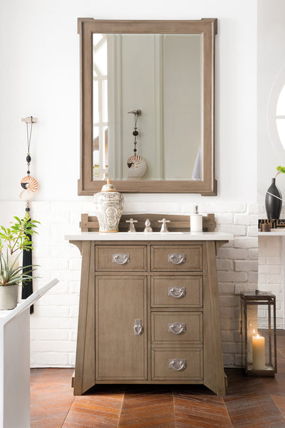 James Martin 250-V36-WTP-4CAR Pasadena 36 Inch Single Vanity in Warm Taupe with 4 CM Carrara White Marble Top