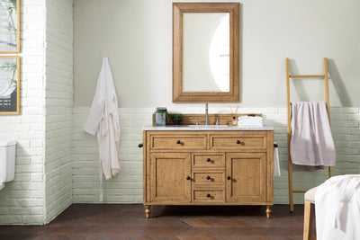 James Martin 300-V48-DRP-4CAR Copper Cove 48 Inch Driftwood Patina Single Vanity with Carrara White Stone Top
