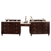 James Martin 301-V122-BNM-DU-3AF Copper Cove Encore 122 Inch Double Vanity Set in Burnished Mahogany with Makeup Table in 3 CM Arctic Fall Solid Surface Top