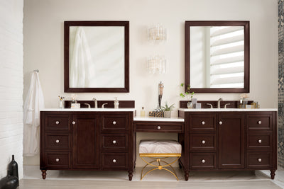 James Martin 301-V122-BNM-DU-3SNW Copper Cove Encore 122 Inch Double Vanity Set in Burnished Mahogany with Makeup Table in 3 CM Snow White Quartz Top