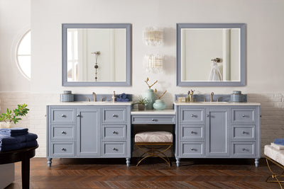 James Martin 301-V122-SL-DU-3CAR Copper Cove Encore 122 Inch Double Vanity Set in Silver Gray with Makeup Table in 3 CM Carrara Marble Top
