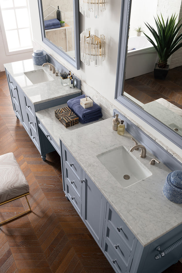 James Martin 301-V122-SL-DU-3SNW Copper Cove Encore 122 Inch Double Vanity Set in Silver Gray with Makeup Table in 3 CM Snow White Quartz Top