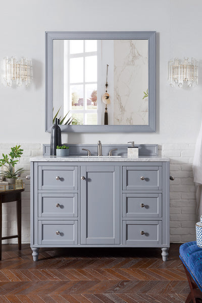 James Martin 301-V48-SL-4GLB Copper Cove Encore 48 Inch Single Vanity in Silver Gray with 4 CM Galala Beige Marble Top