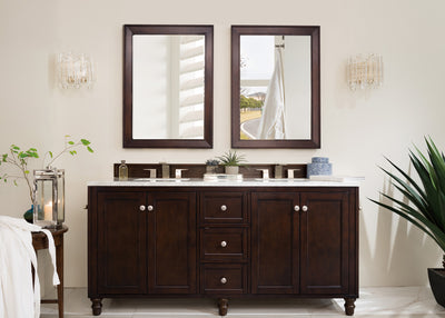 James Martin 301-V72-BNM-3CAR Copper Cove Encore 72 Inch Double Vanity in Burnished Mahogany with 3 CM Carrara Marble Top