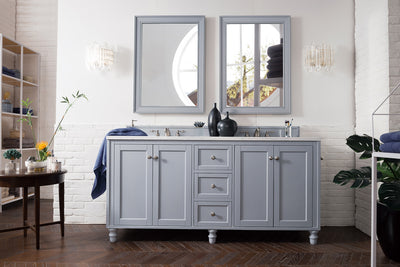 James Martin 301-V72-SL-3CAR Copper Cove Encore 72 Inch Double Vanity in Silver Gray with 3 CM Carrara Marble Top