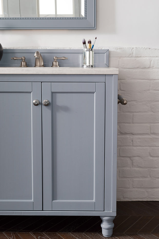 James Martin 301-V72-SL-4BLK Copper Cove Encore 72 Inch Double Vanity in Silver Gray with 4 CM Absolute Black Rustic Stone Top