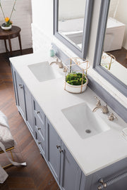 James Martin 301-V72-SL-4CAR Copper Cove Encore 72 Inch Double Vanity in Silver Gray with 4 CM Carrara White Marble Top