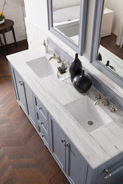 James Martin 301-V72-SL-4GLB Copper Cove Encore 72 Inch Double Vanity in Silver Gray with 4 CM Galala Beige Marble Top