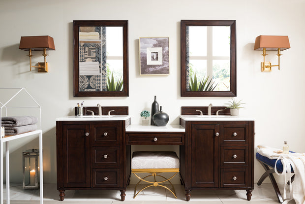 James Martin 301-V86-BNM-DU-3AF Copper Cove Encore 86 Inch Double Vanity Set in Burnished Mahogany with Makeup Table in 3 CM Arctic Fall Solid Surface Top