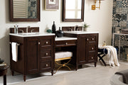 James Martin 301-V86-BNM-DU-3SNW Copper Cove Encore 86 Inch Double Vanity Set in Burnished Mahogany with Makeup Table in 3 CM Snow White Quartz Top