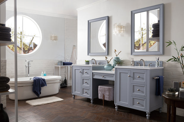 James Martin 301-V86-SL-DU-3AF Copper Cove Encore 86 Inch Double Vanity Set in Silver Gray with Makeup Table in 3 CM Arctic Fall Solid Surface Top